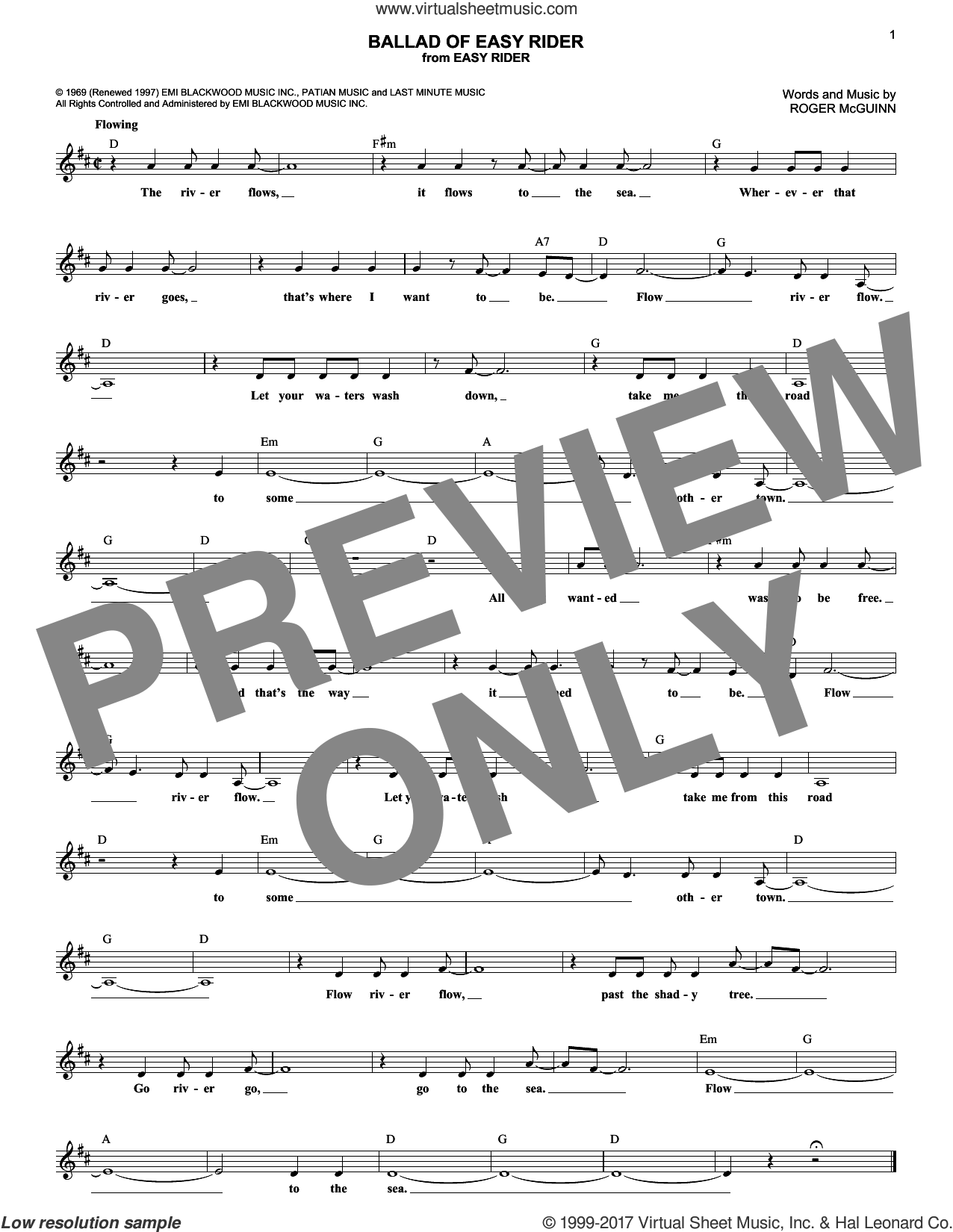 Ballad Of Easy Rider sheet music for voice and other instruments (fake book) by The Byrds and Roger McGuinn, intermediate skill level