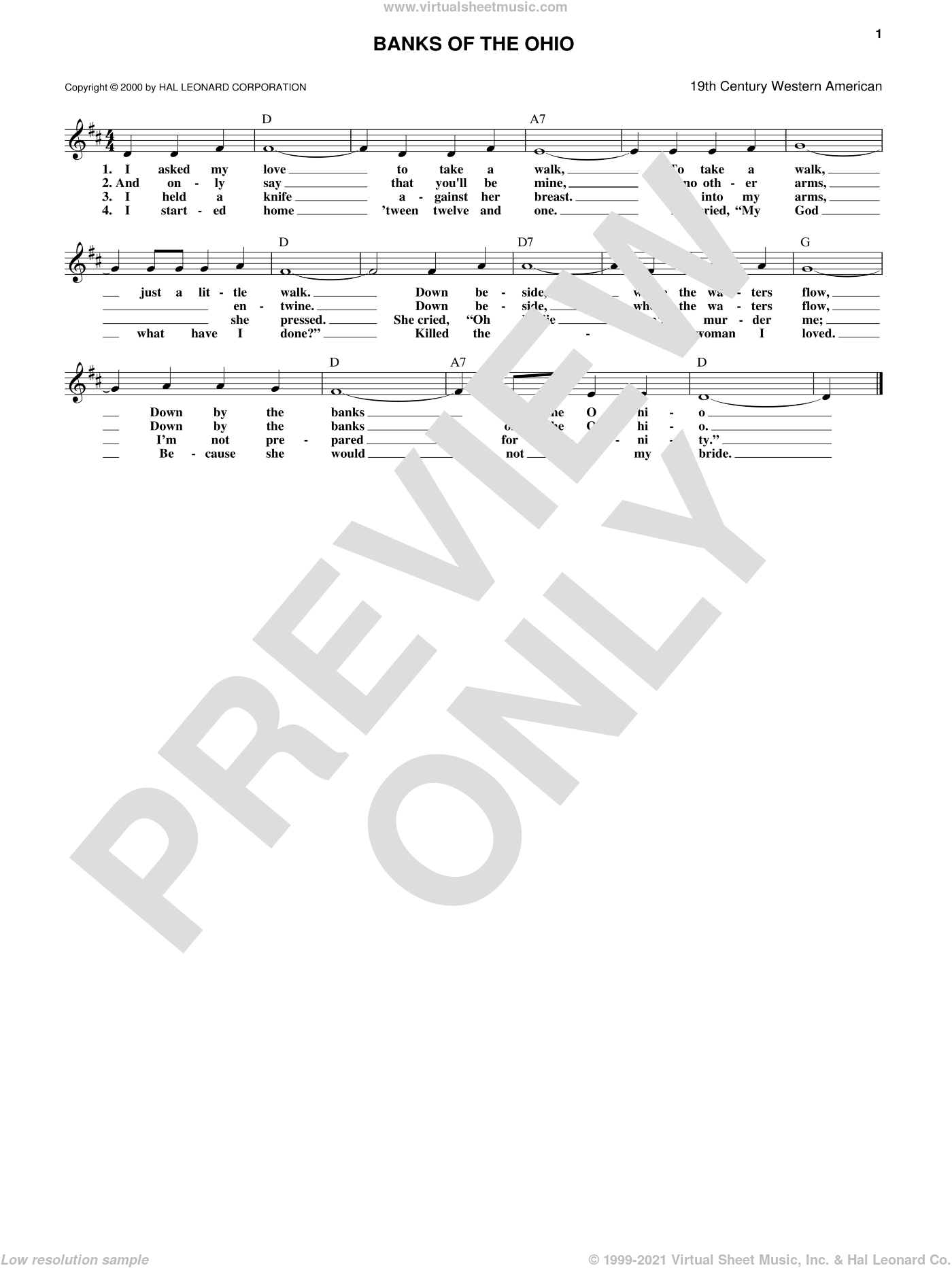 Banks Of The Ohio sheet music for voice and other instruments (fake book) by Anonymous. Score Image Preview.