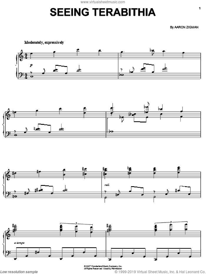 Seeing Terabithia sheet music for piano solo by Aaron Zigman