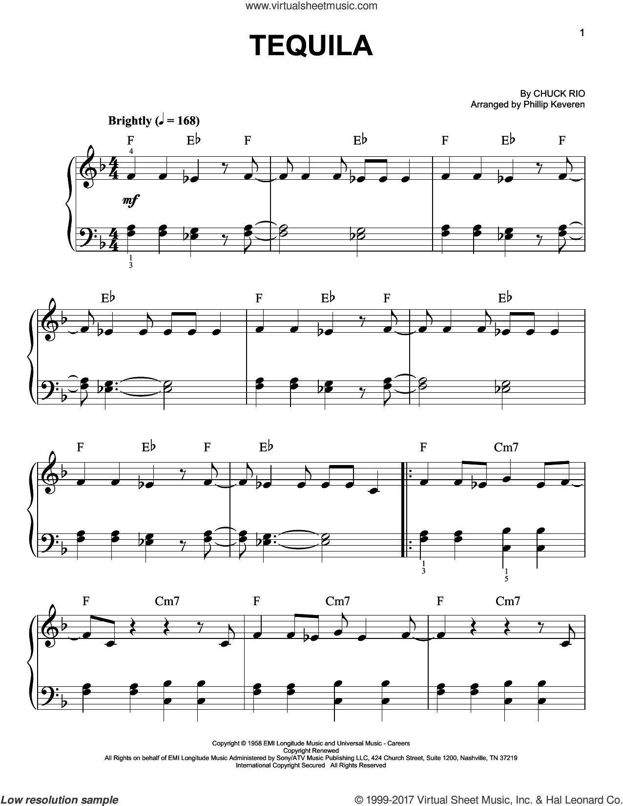 Tequila sheet music for piano solo by Phillip Keveren and The Champs. Score Image Preview.