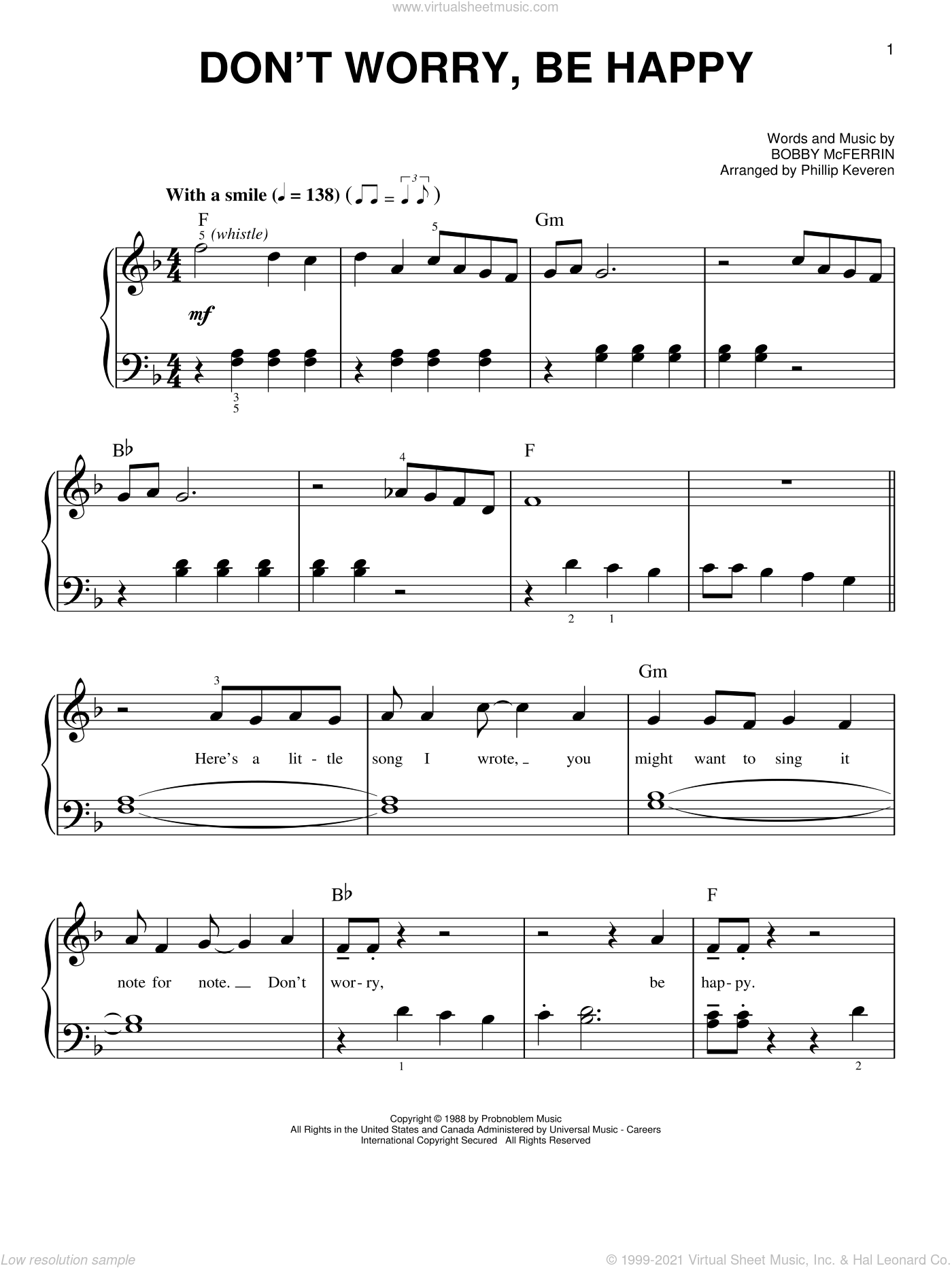 Don't Worry, Be Happy sheet music for piano solo by Bobby McFerrin and Phillip Keveren, easy. Score Image Preview.