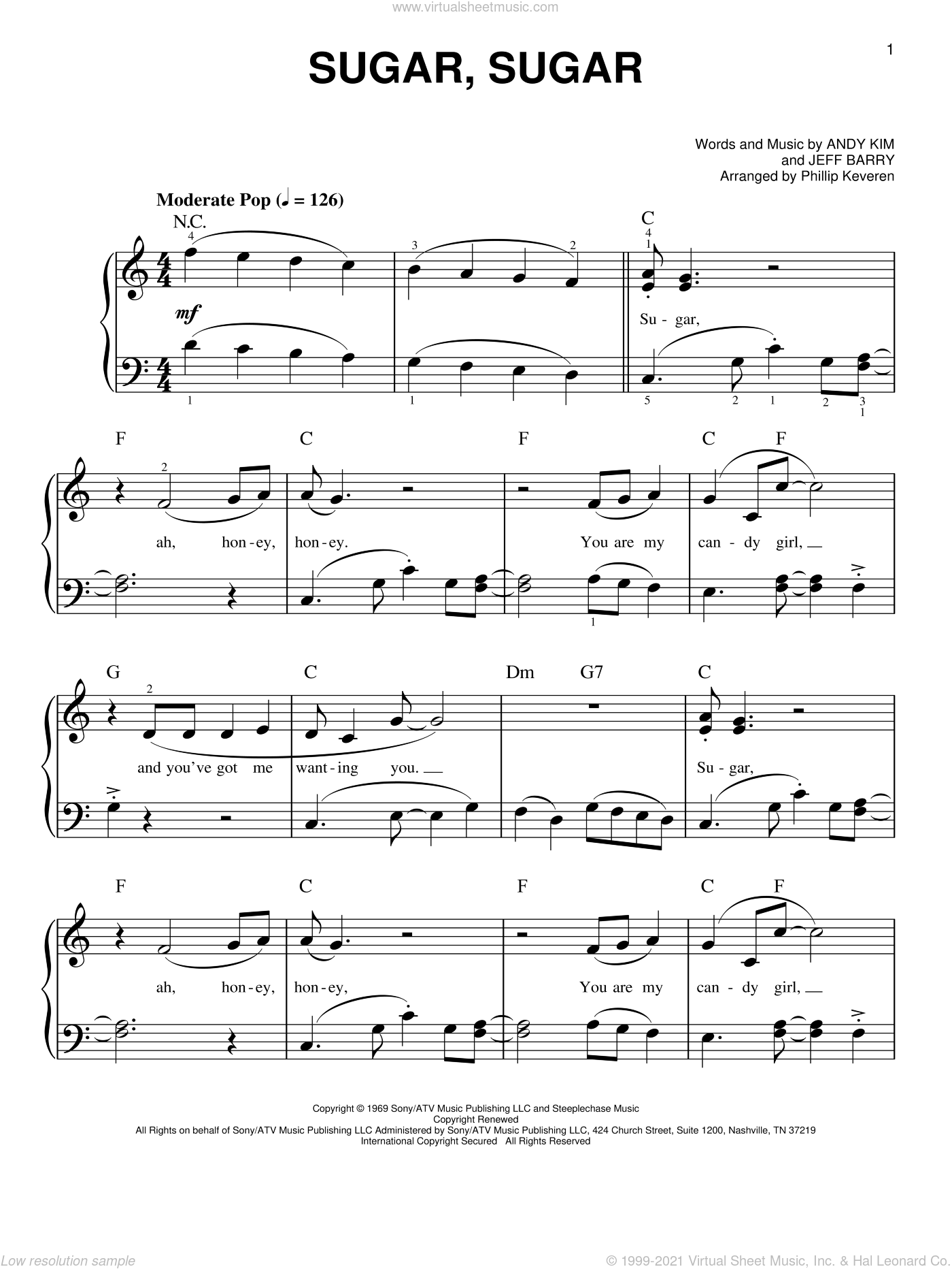 Sugar, Sugar sheet music for piano solo by Jeff Barry, Phillip Keveren, The Archies, Wilson Pickett and Andy Kim, easy skill level