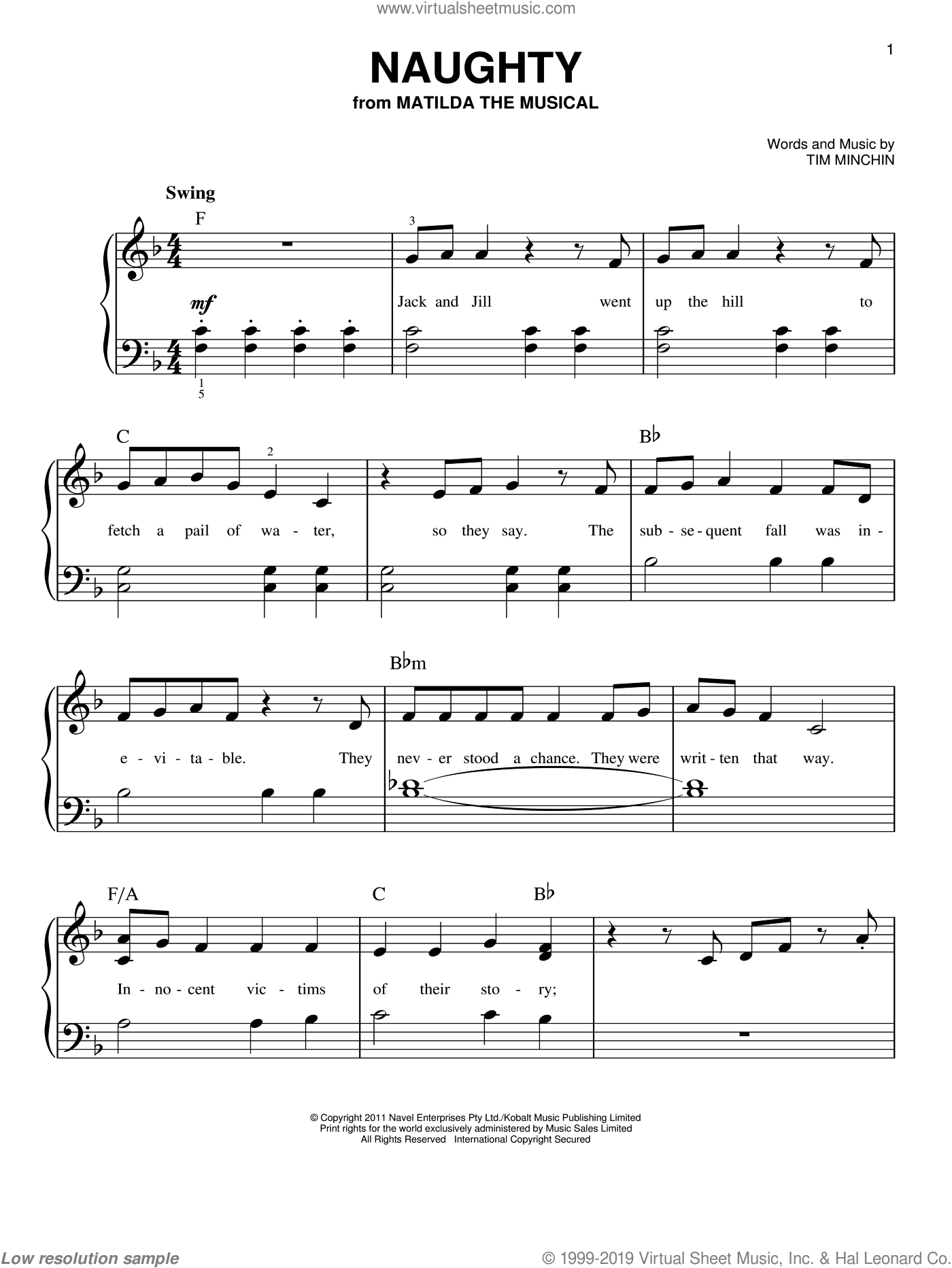 Naughty sheet music for piano solo by Tim Minchin, easy skill level