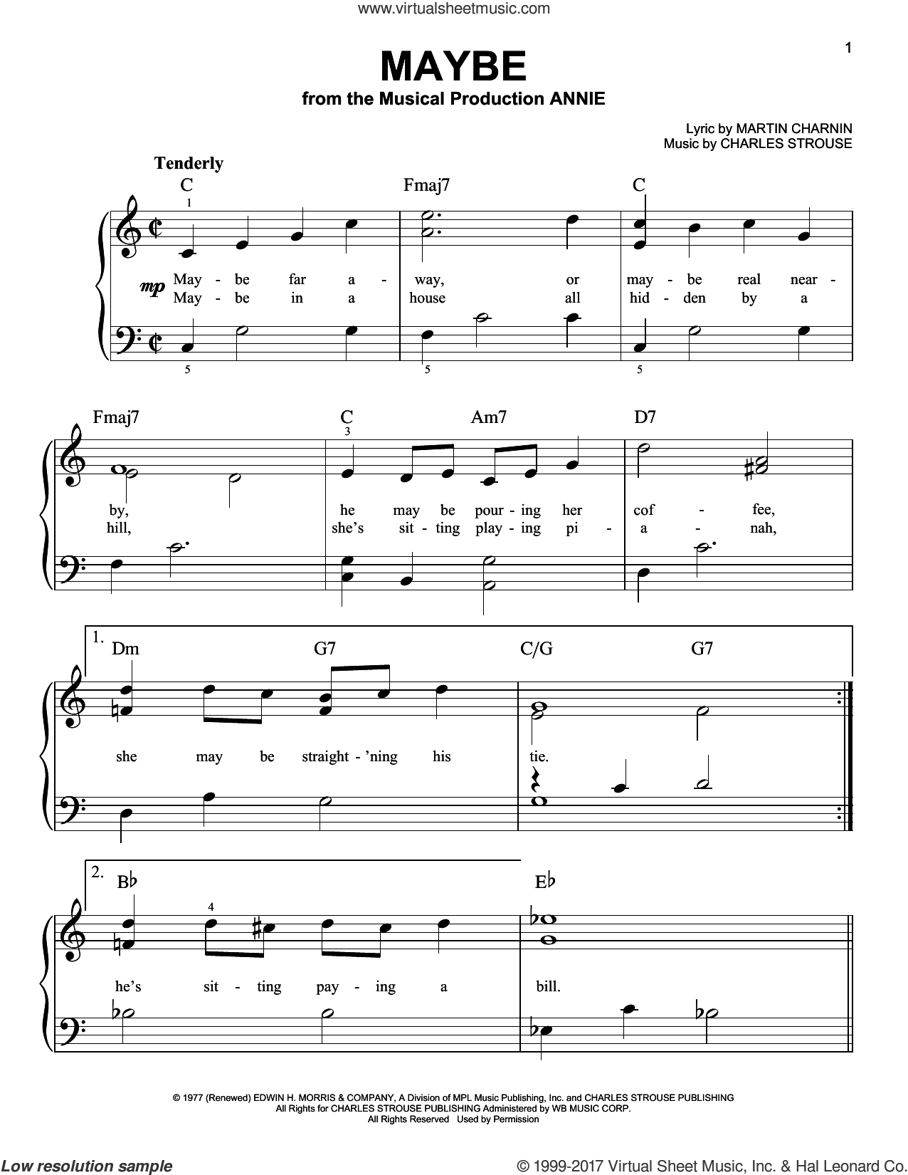 Maybe sheet music for piano solo by Charles Strouse and Martin Charnin, easy skill level