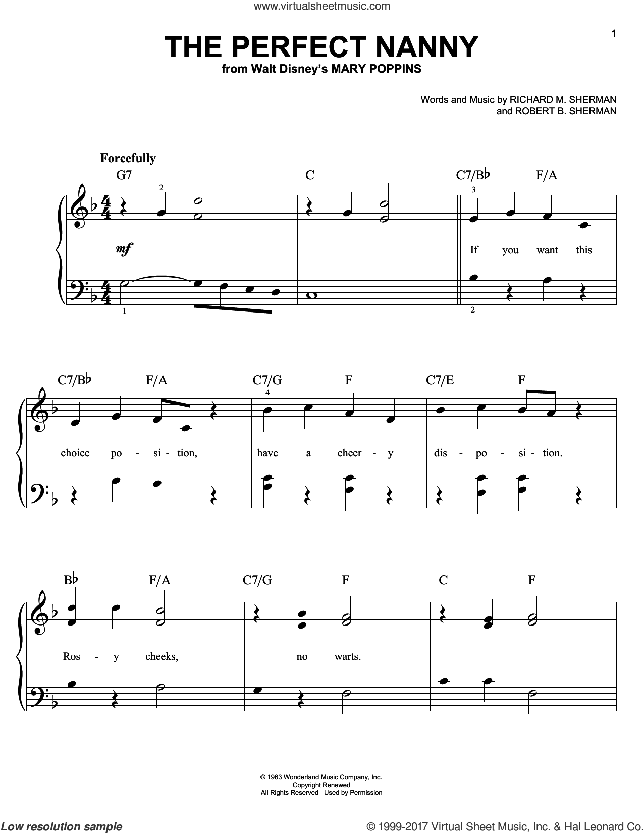 The Perfect Nanny sheet music for piano solo by Richard M. Sherman and Robert B. Sherman, easy piano. Score Image Preview.