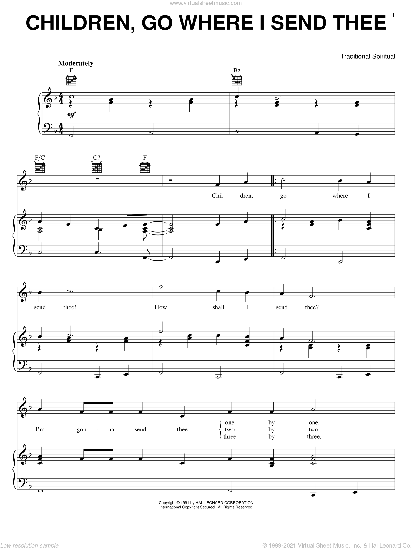 Children Go Where I Send Thee sheet music for voice, piano or guitar by Emily Crocker