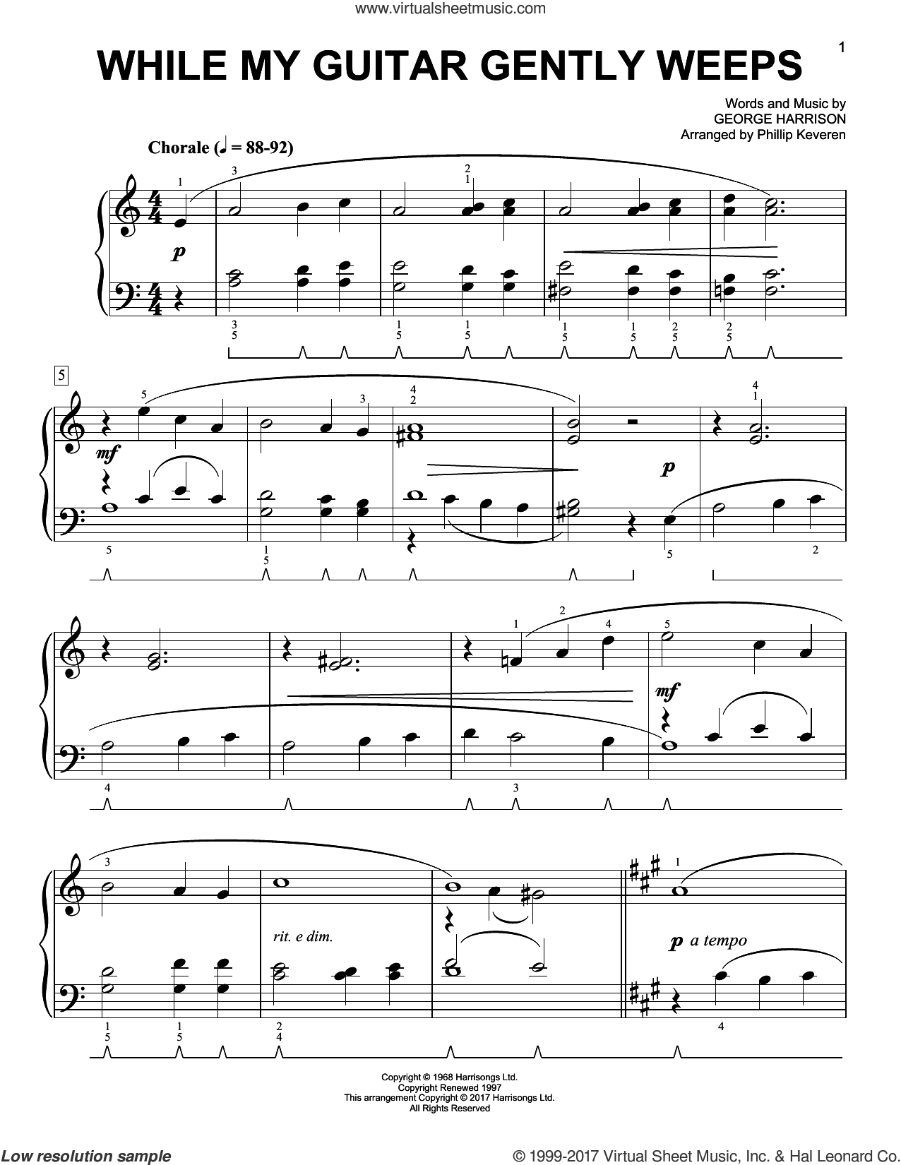 While My Guitar Gently Weeps [Classical version] (arr. Phillip Keveren) sheet music for piano solo by George Harrison, Phillip Keveren and The Beatles, easy skill level
