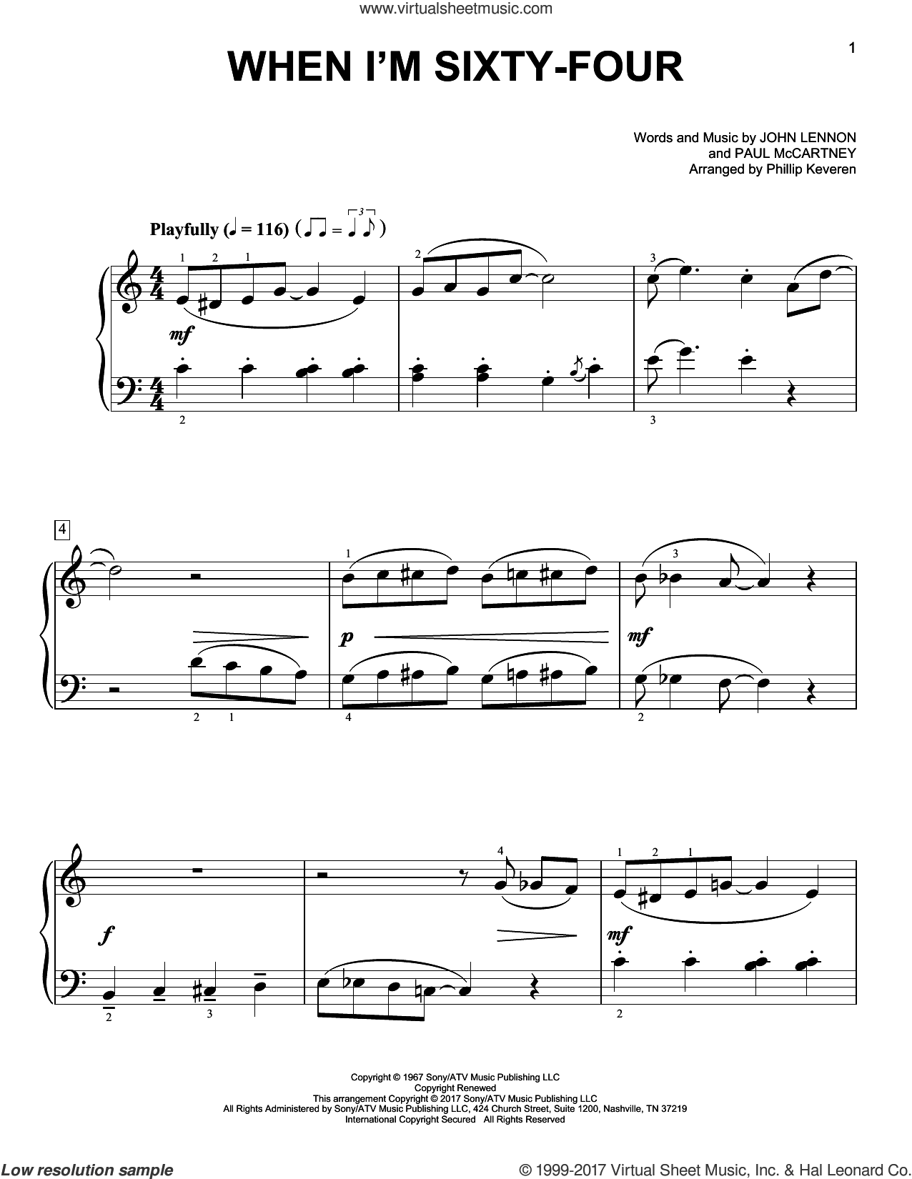 When I'm Sixty-Four sheet music for piano solo by Paul McCartney, Phillip Keveren, The Beatles and John Lennon, easy skill level