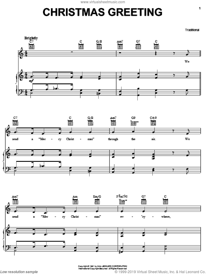 Christmas Greeting sheet music for voice, piano or guitar, intermediate. Score Image Preview.