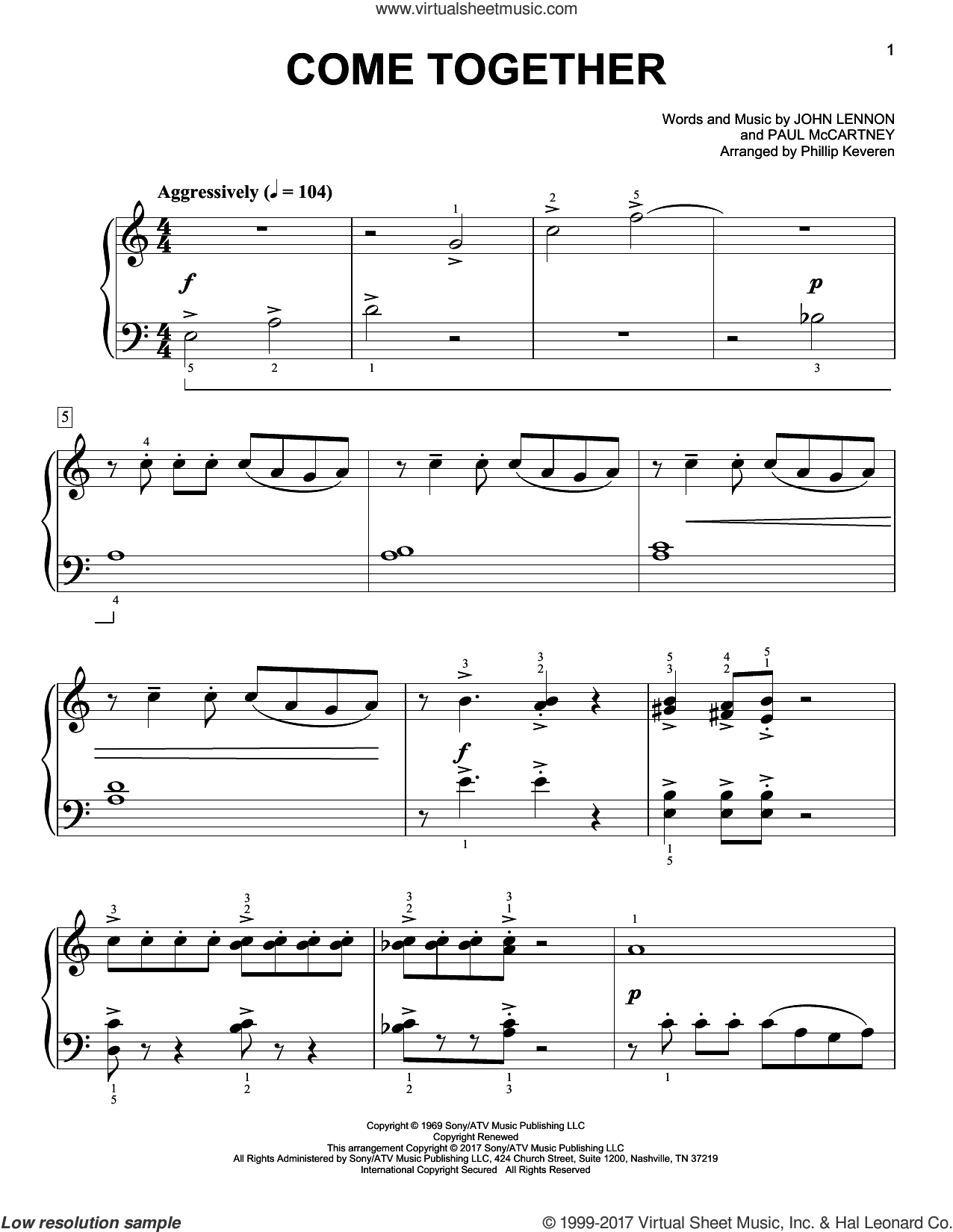 Come Together sheet music for piano solo by John Lennon, Phillip Keveren, The Beatles and Paul McCartney. Score Image Preview.