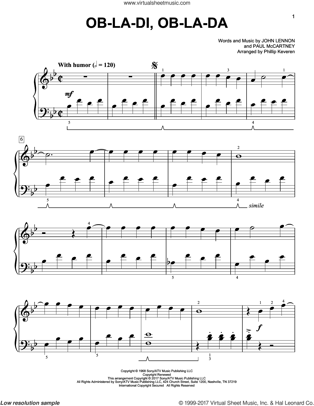 Ob-La-Di, Ob-La-Da [Classical version] (arr. Phillip Keveren) sheet music for piano solo by Paul McCartney, Phillip Keveren, The Beatles and John Lennon, easy skill level