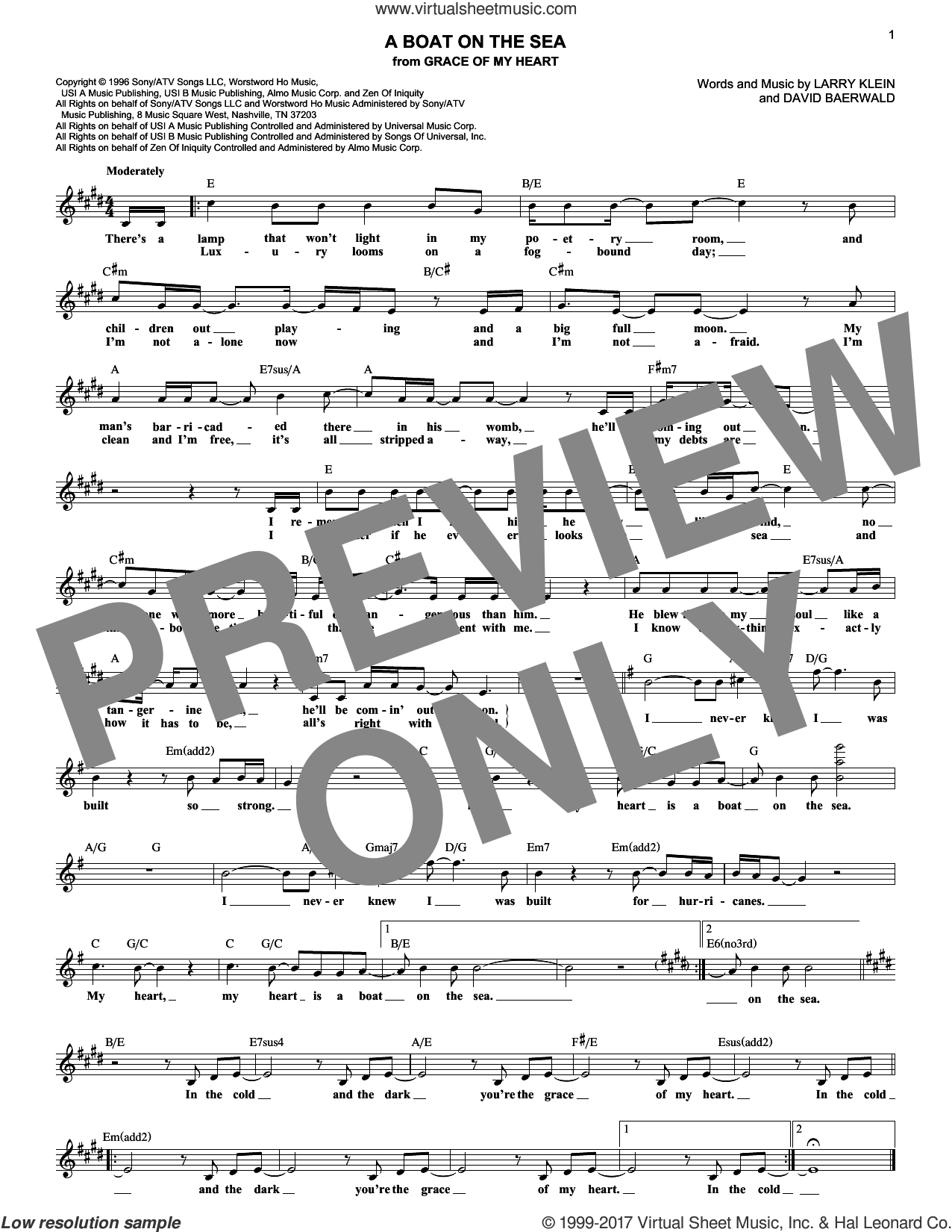 A Boat On The Sea sheet music for voice and other instruments (fake book) by David Baerwald and Larry Klein, intermediate skill level