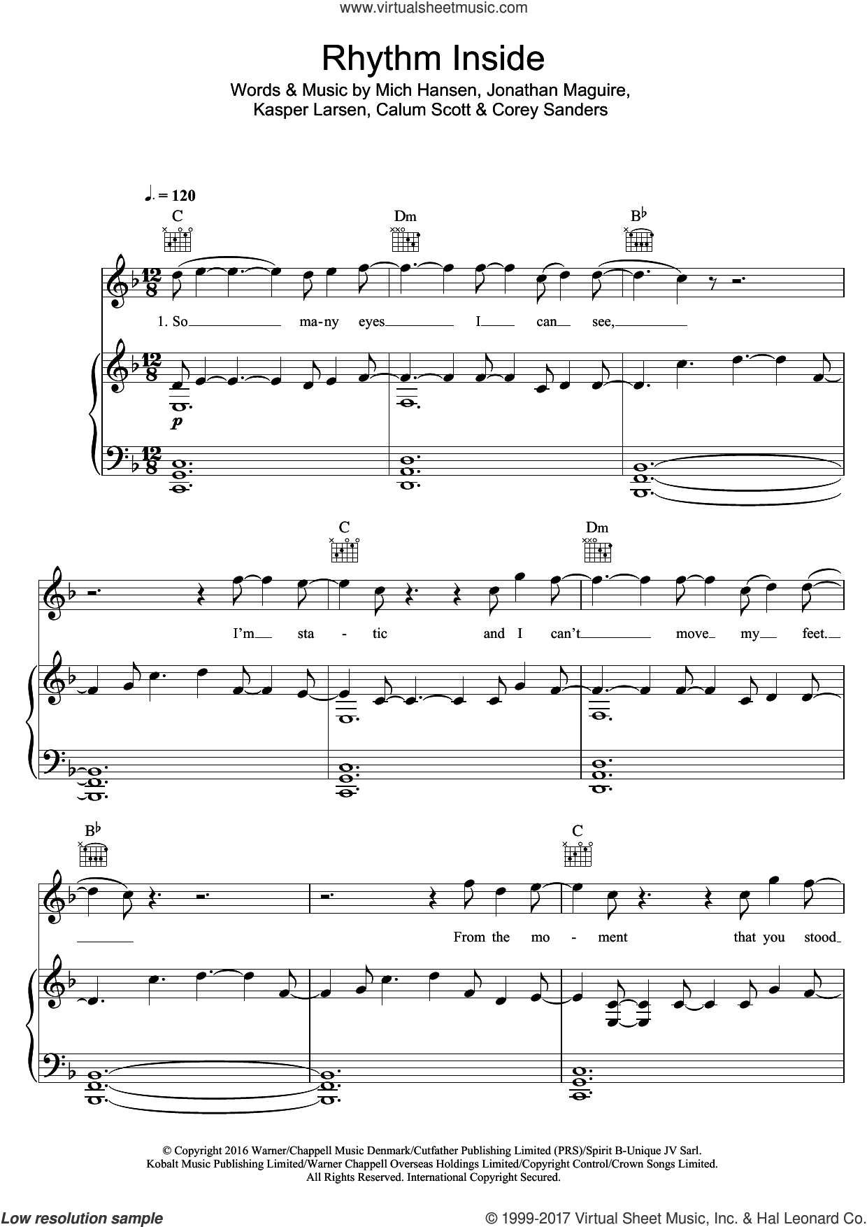 Rhythm Inside sheet music for voice, piano or guitar by Calum Scott, intermediate voice, piano or guitar. Score Image Preview.