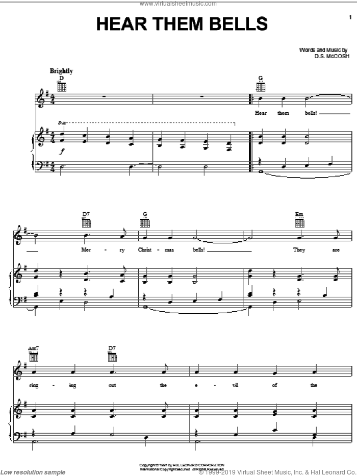 Hear Them Bells sheet music for voice, piano or guitar by D.S. McCosh. Score Image Preview.