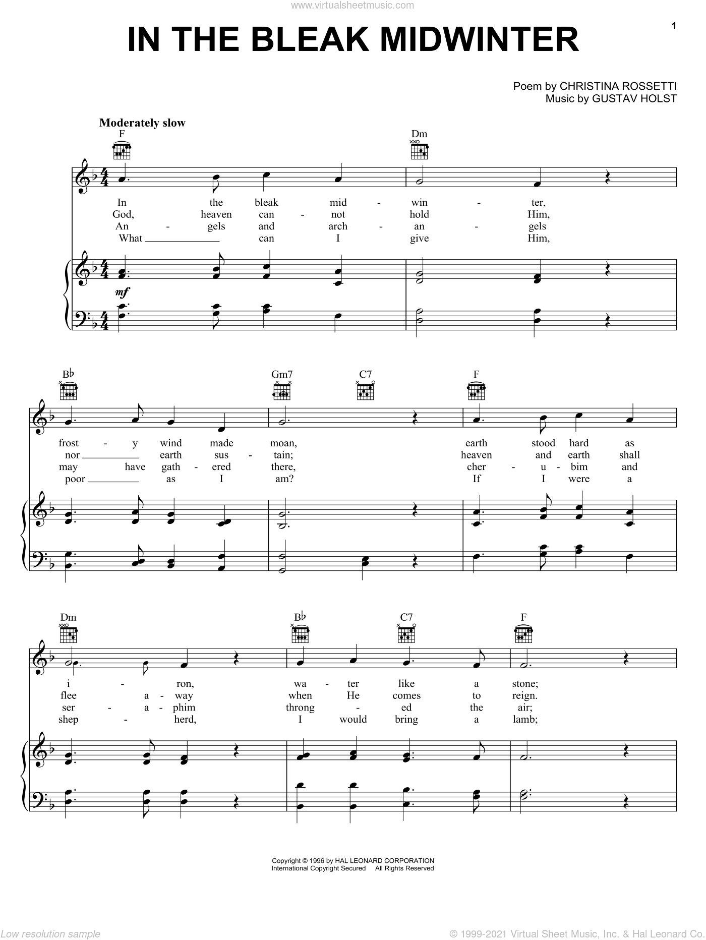 In The Bleak Midwinter sheet music for voice, piano or guitar by Christina Rossetti and Gustav Holst. Score Image Preview.