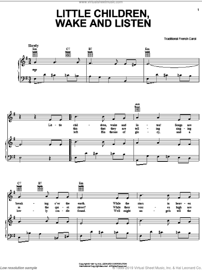 Little Children, Wake And Listen sheet music for voice, piano or guitar, intermediate skill level