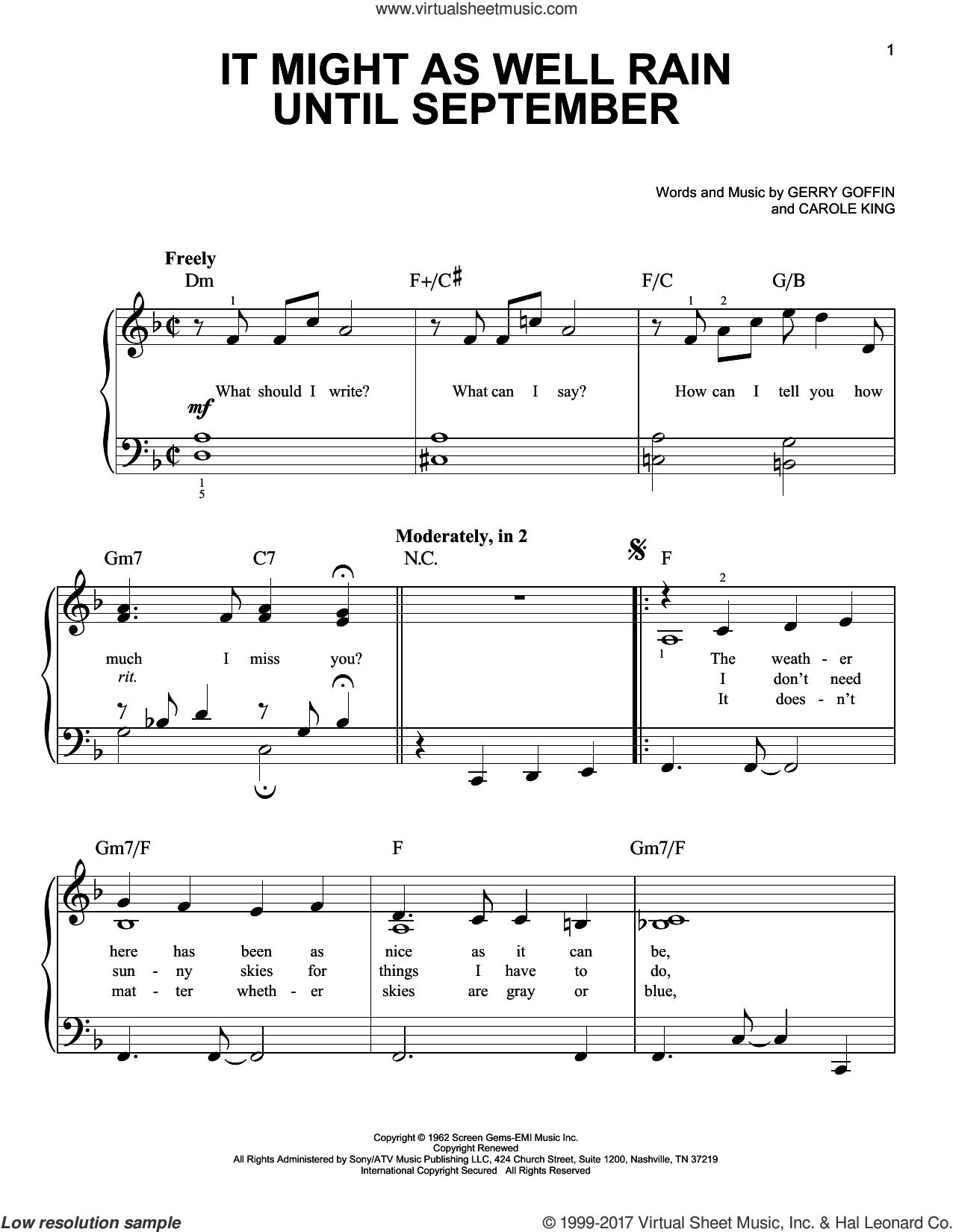 It Might As Well Rain Until September sheet music for piano solo by Carole King and Gerry Goffin. Score Image Preview.