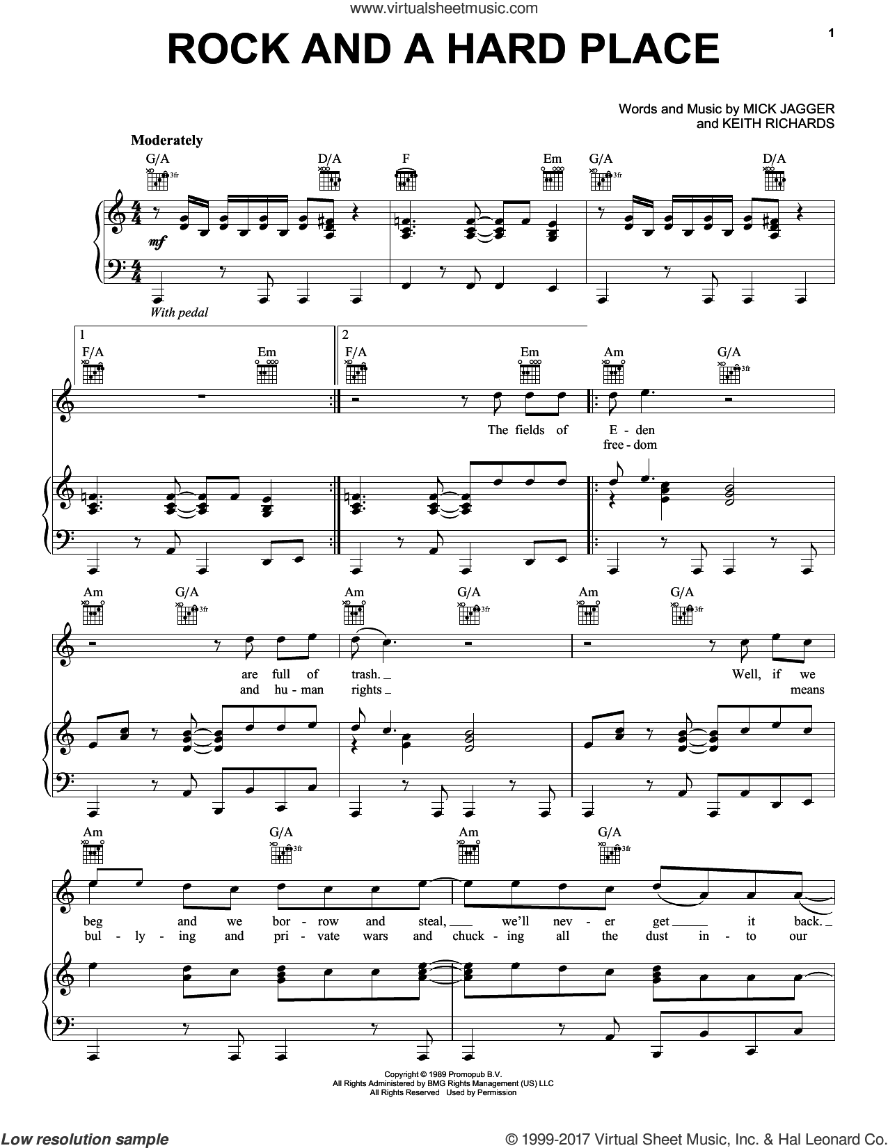 Rock And A Hard Place sheet music for voice, piano or guitar by The Rolling Stones, Keith Richards and Mick Jagger, intermediate skill level