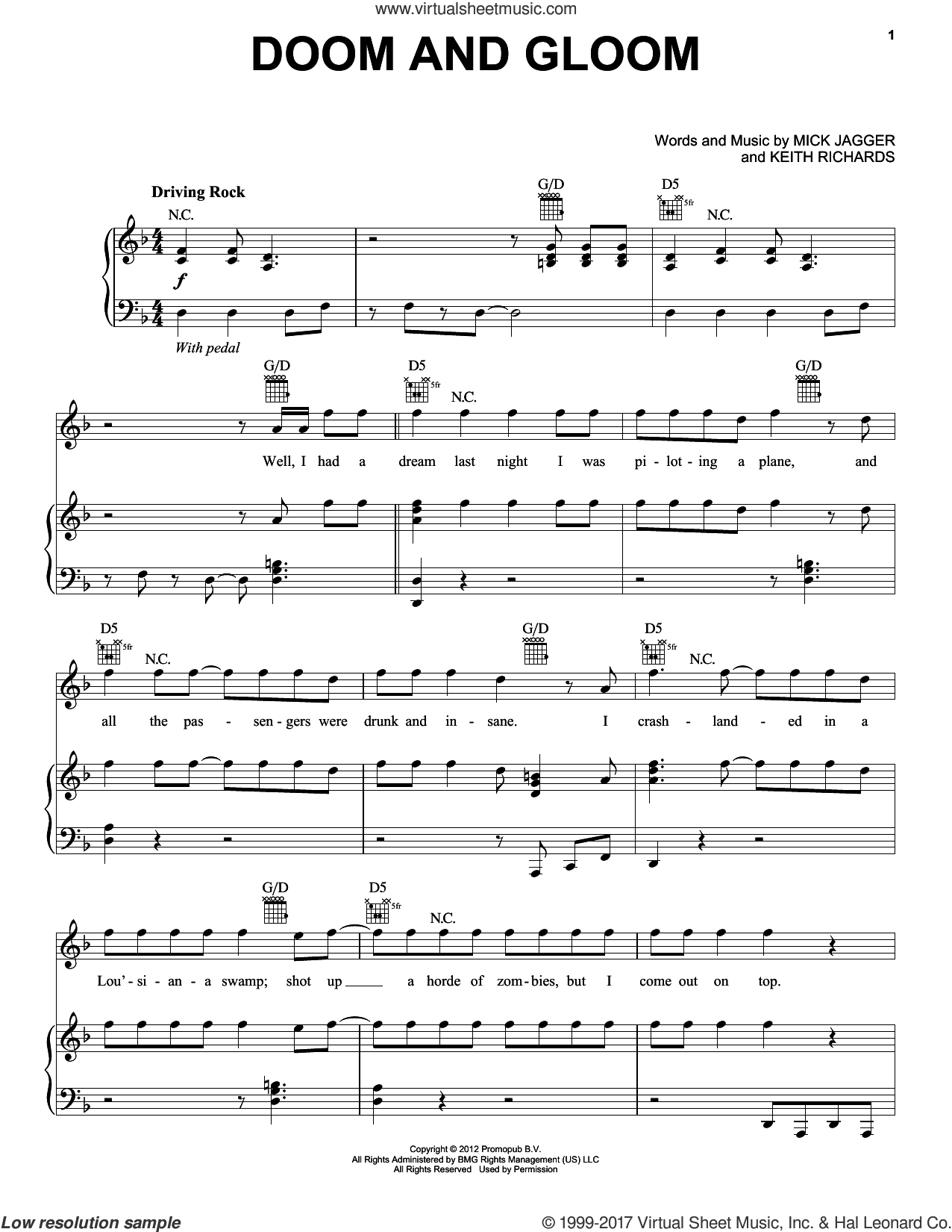 Doom And Gloom sheet music for voice, piano or guitar by Mick Jagger, The Rolling Stones and Keith Richards. Score Image Preview.