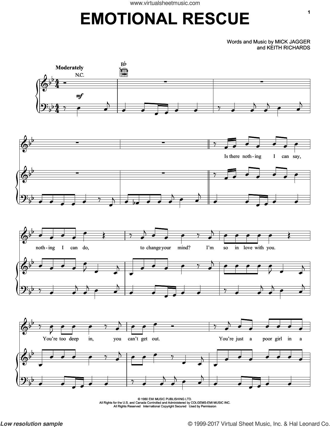Emotional Rescue sheet music for voice, piano or guitar by The Rolling Stones, Keith Richards and Mick Jagger, intermediate skill level