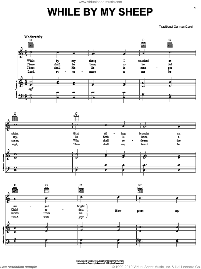 While By My Sheep sheet music for voice, piano or guitar, intermediate. Score Image Preview.