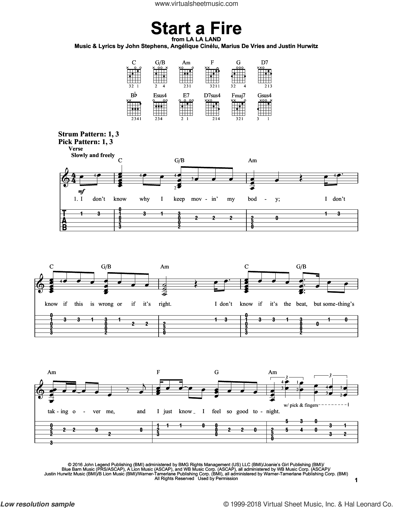 Start A Fire sheet music for guitar solo (easy tablature) by John Legend, Justin Hurwitz and Marius De Vries, easy guitar (easy tablature). Score Image Preview.