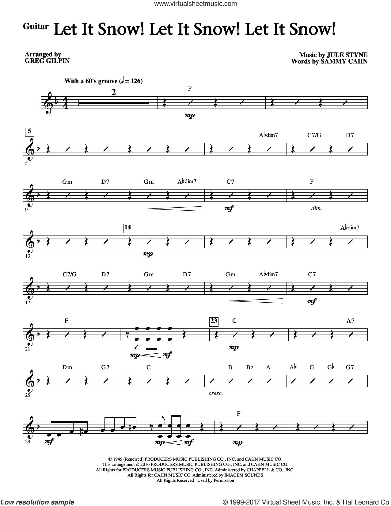 Let It Snow! Let It Snow! Let It Snow! (complete set of parts) sheet music for orchestra/band by Sammy Cahn, Greg Gilpin and Jule Styne, intermediate skill level