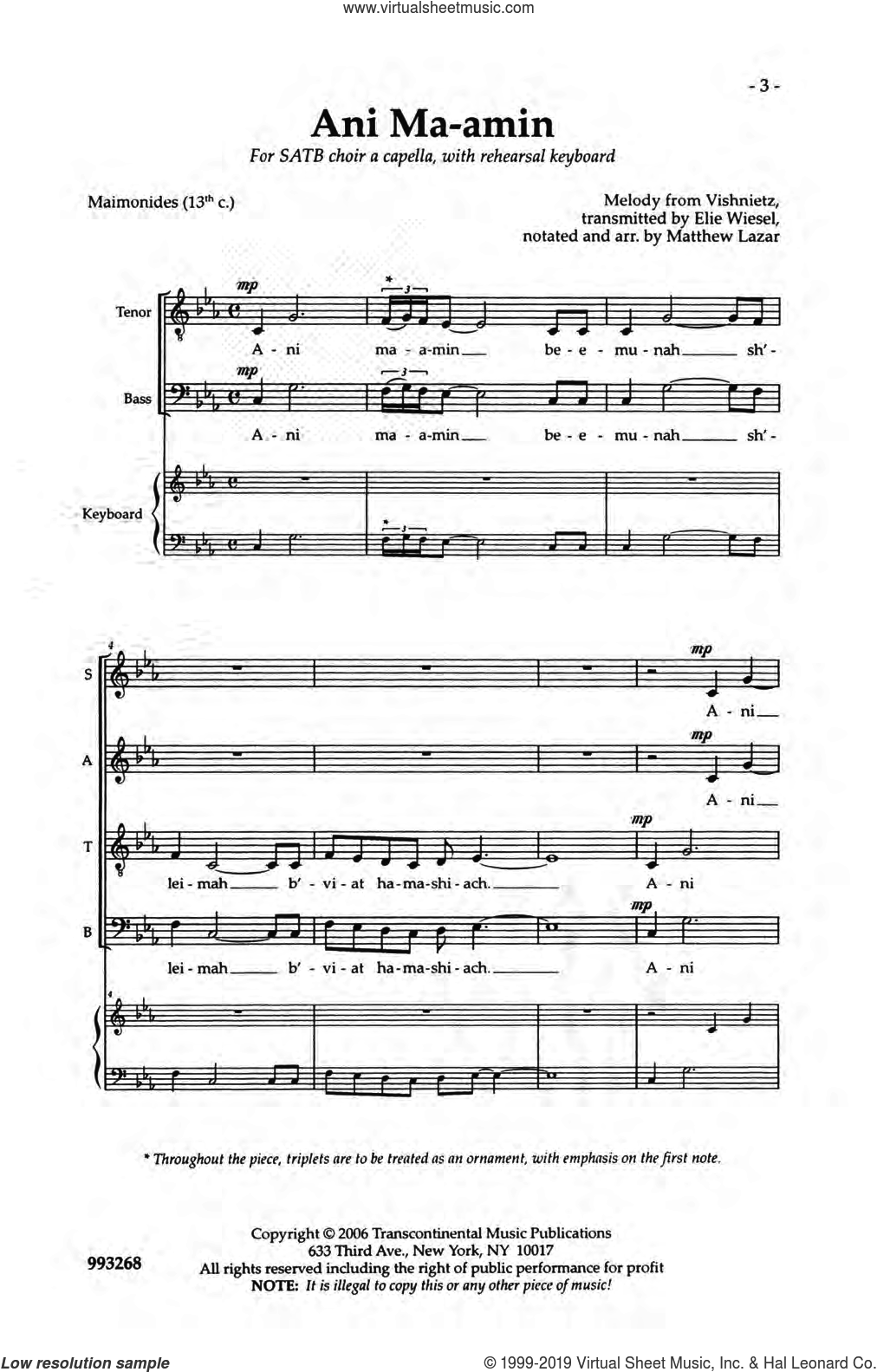 Ani Ma-amin sheet music for choir (SATB: soprano, alto, tenor, bass) by Elie Wisel, Maimonides and Matthew Lazar, intermediate skill level