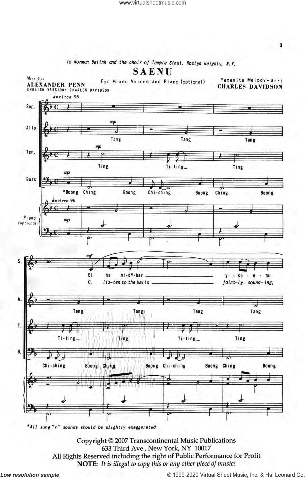 Saenu sheet music for choir (SATB: soprano, alto, tenor, bass) by Charles Davidson and Alexander Penn, intermediate skill level