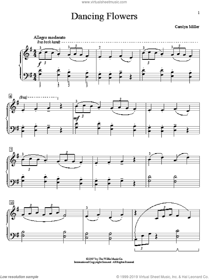 Dancing Flowers sheet music for piano solo (elementary) by Carolyn Miller, beginner piano (elementary)