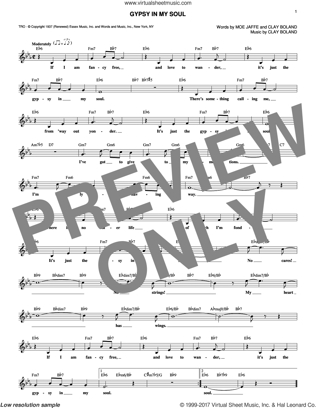 Gypsy In My Soul sheet music for voice and other instruments (fake book) by Moe Jaffe and Clay Boland, intermediate skill level