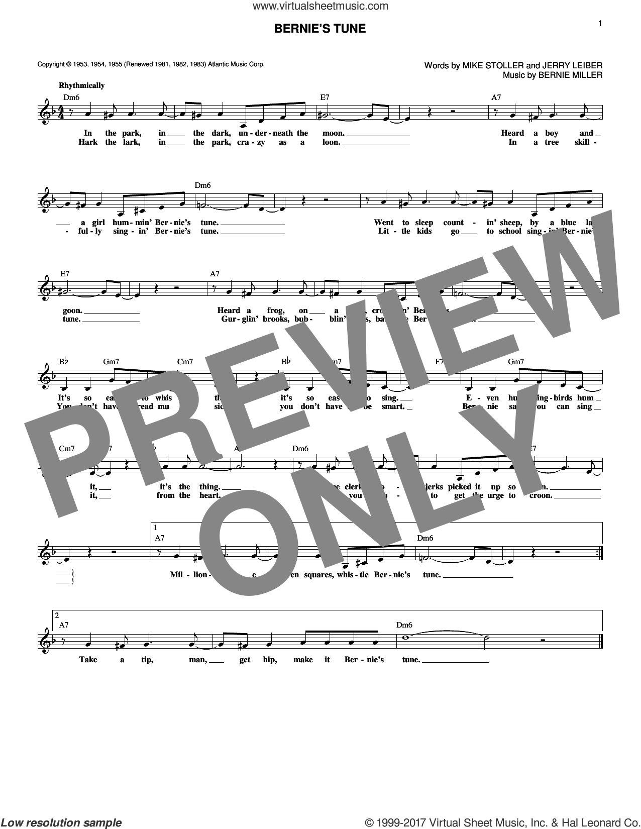 Bernie's Tune sheet music for voice and other instruments (fake book) by Bernie Miller, Jerry Lieber and Mike Stoller, intermediate skill level