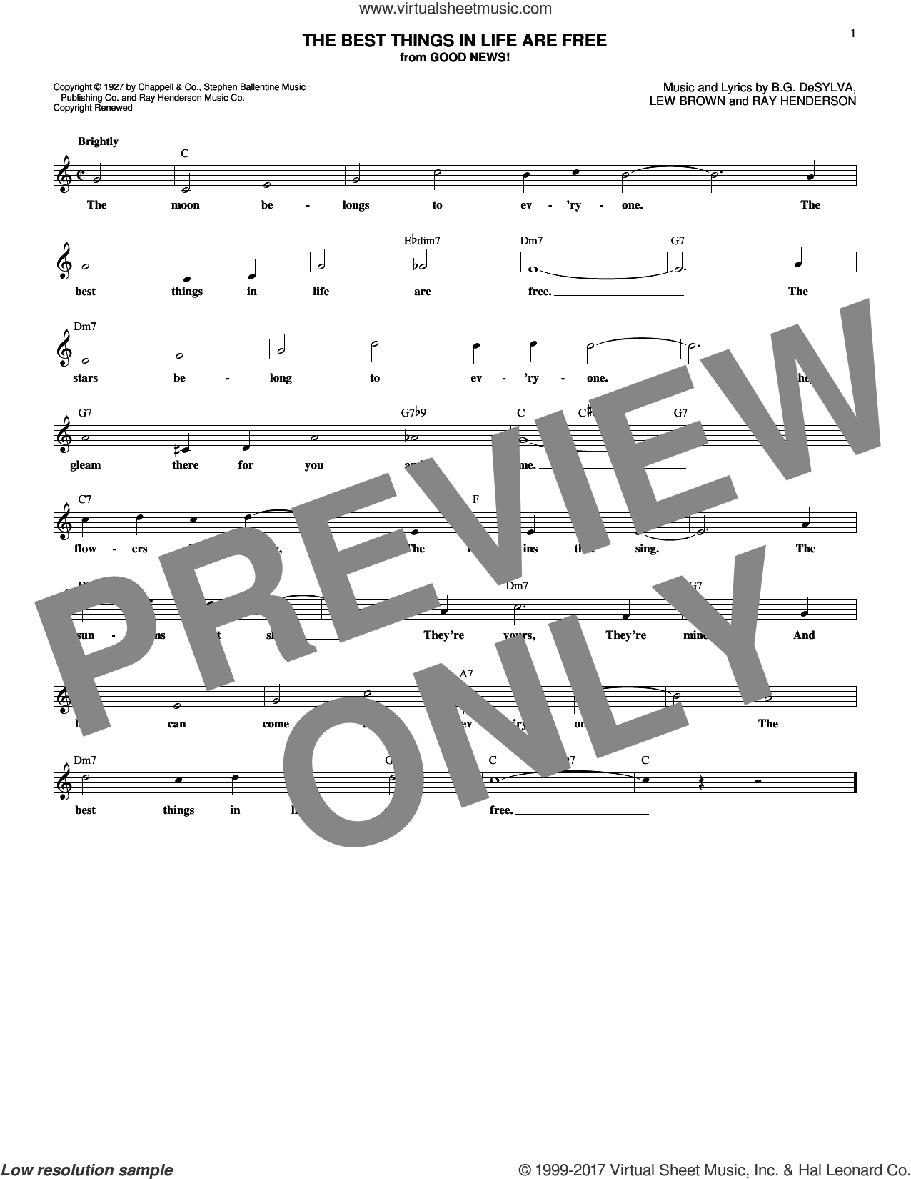 The Best Things In Life Are Free sheet music for voice and other instruments (fake book) by Ray Henderson, Buddy DeSylva and Lew Brown, intermediate skill level