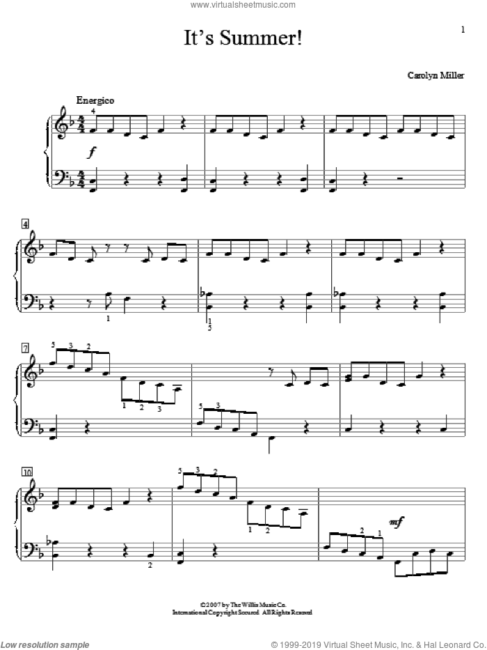 It's Summer! sheet music for piano solo (elementary) by Carolyn Miller, beginner piano (elementary)