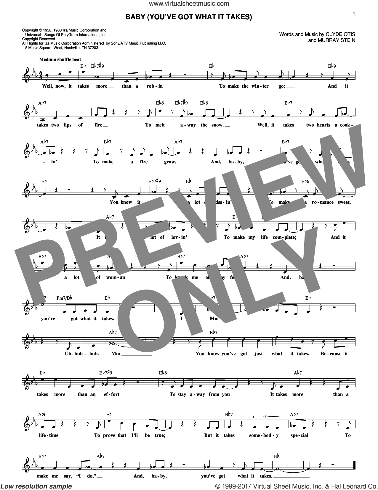 Baby (You've Got What It Takes) sheet music for voice and other instruments (fake book) by Clyde Otis, intermediate. Score Image Preview.