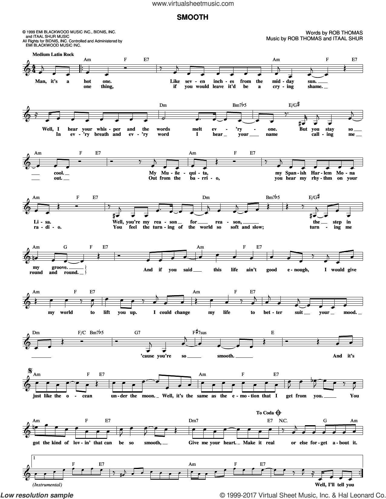 Smooth sheet music for voice and other instruments (fake book) by Santana featuring Rob Thomas, Itaal Shur and Rob Thomas, intermediate skill level
