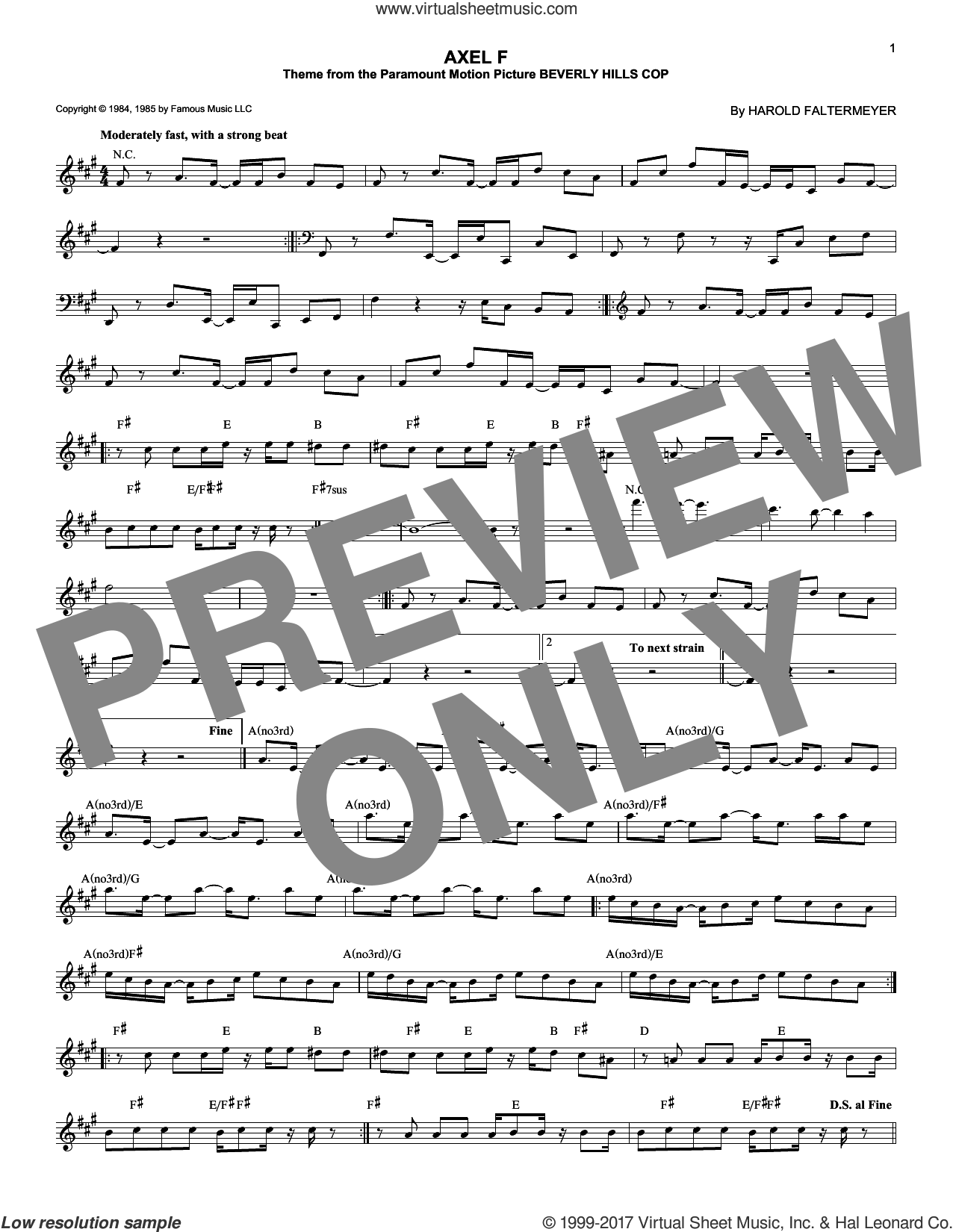 Axel F sheet music for voice and other instruments (fake book) by Harold Faltermeyer and Crazy Frog, intermediate skill level