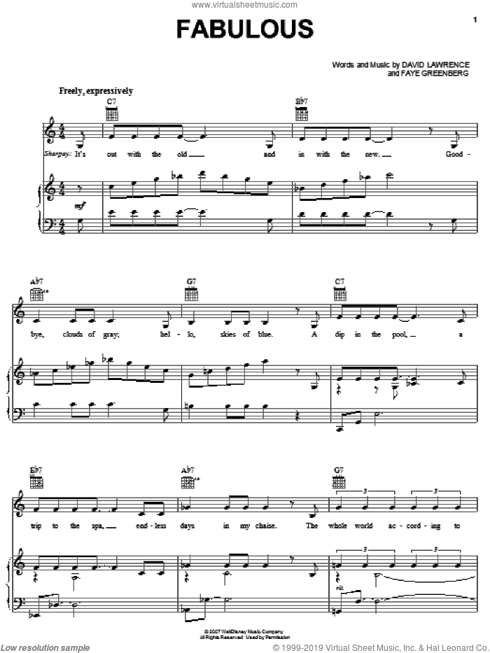 Fabulous sheet music for voice, piano or guitar by High School Musical 2 and David Lawrence. Score Image Preview.