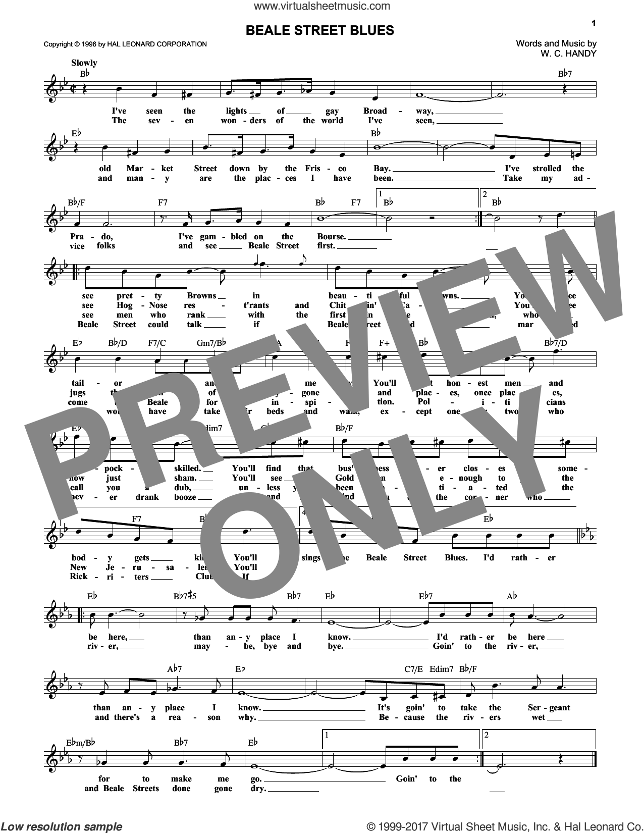 Beale Street Blues sheet music for voice and other instruments (fake book) by W.C. Handy, intermediate skill level