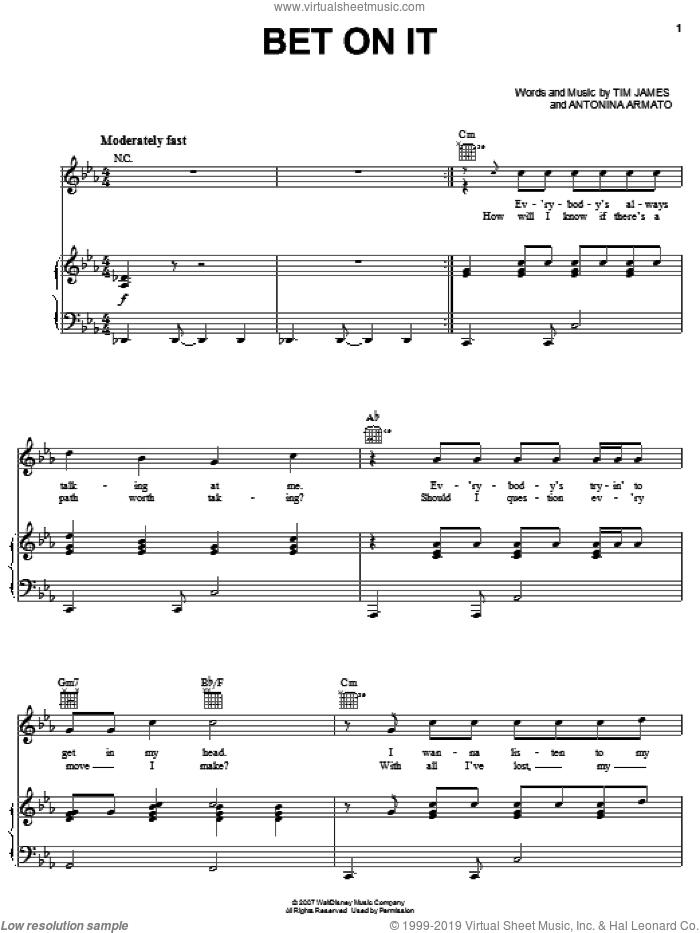 Bet On It sheet music for voice, piano or guitar by High School Musical 2, Antonina Armato and Tim James, intermediate skill level