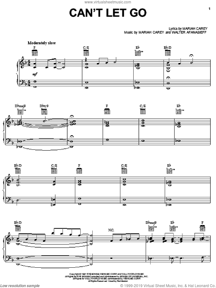 Can't Let Go sheet music for voice, piano or guitar by Mariah Carey and Walter Afanasieff, intermediate. Score Image Preview.