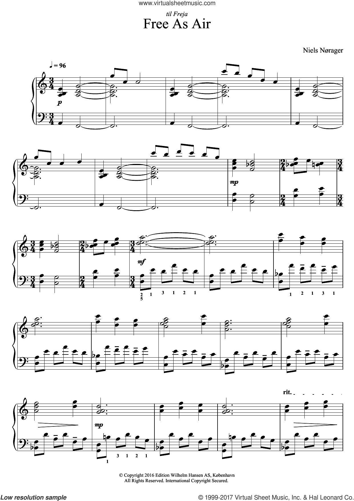 Free As Air sheet music for piano solo by Niels Norager, classical score, intermediate skill level