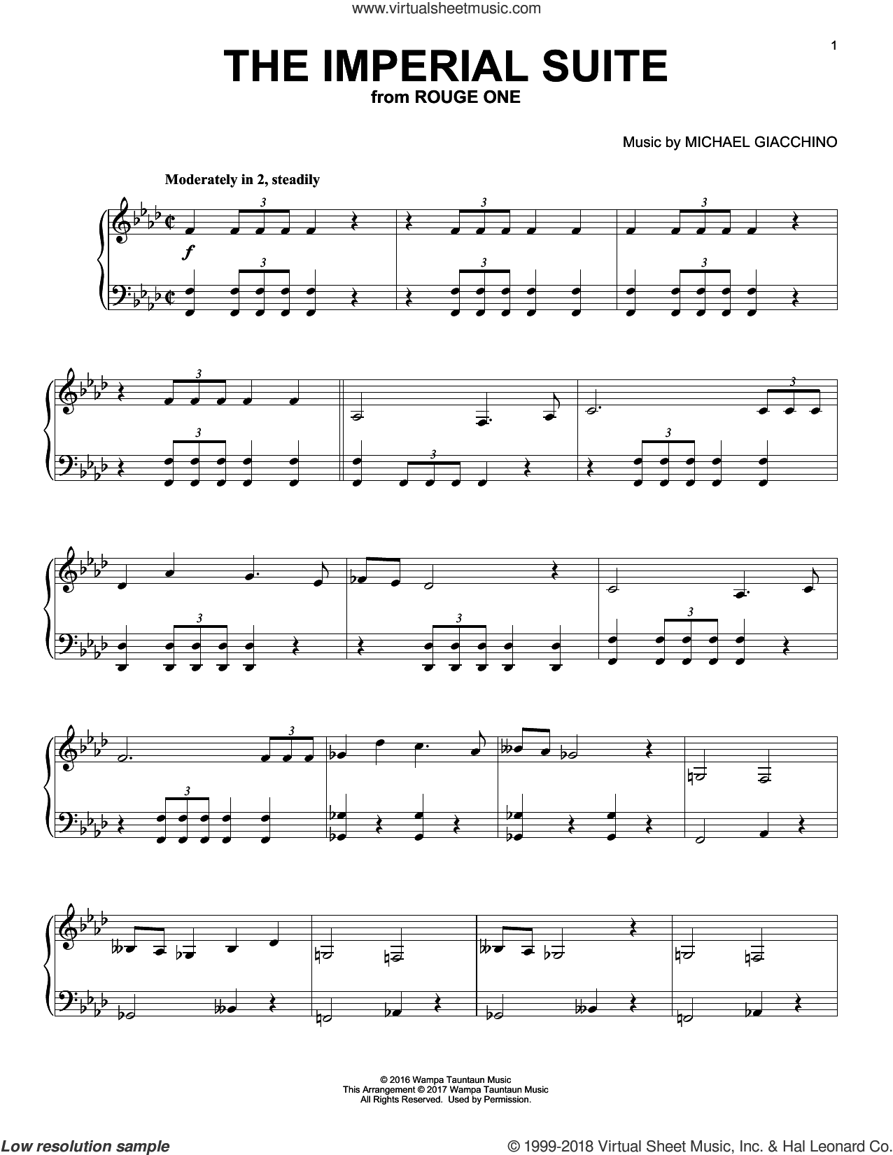 The Imperial Suite sheet music for piano solo by Michael Giacchino, classical score, intermediate skill level
