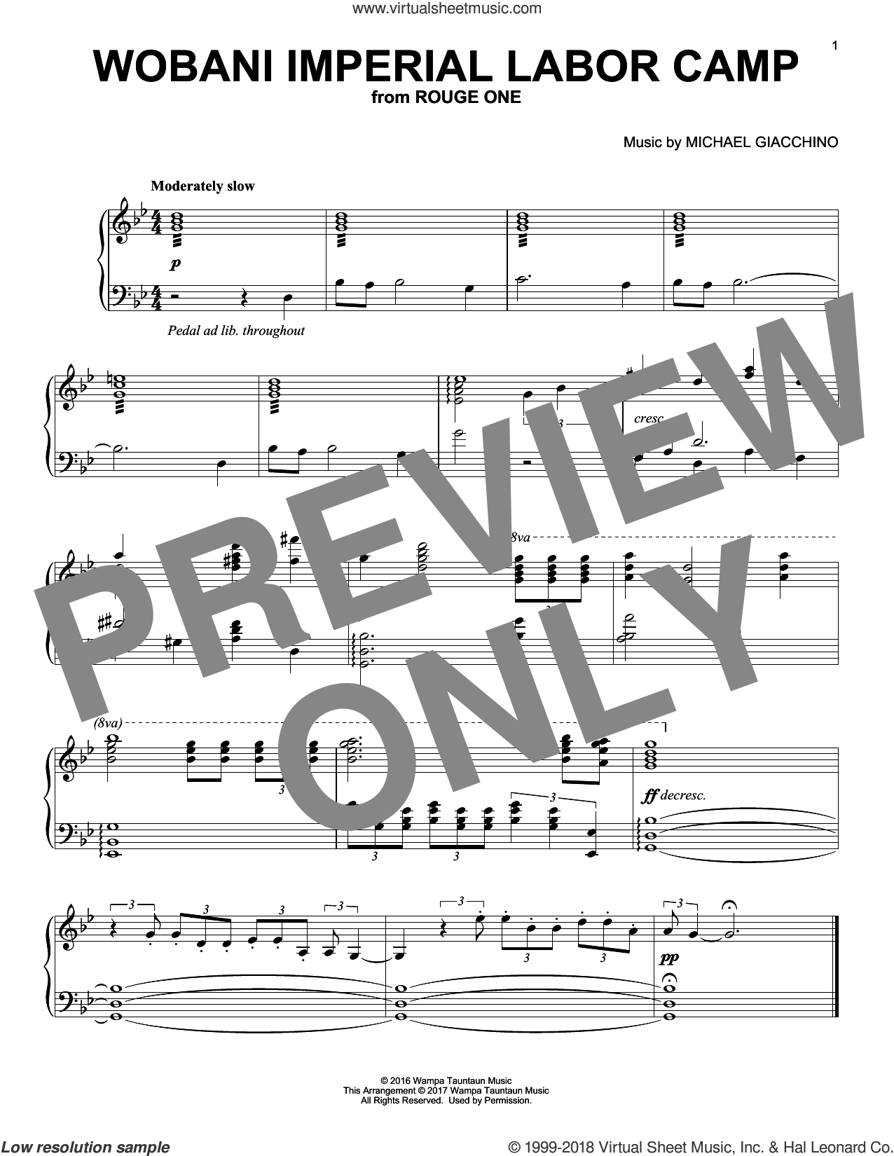 Wobani Imperial Labor Camp sheet music for piano solo by Michael Giacchino, classical score, intermediate skill level
