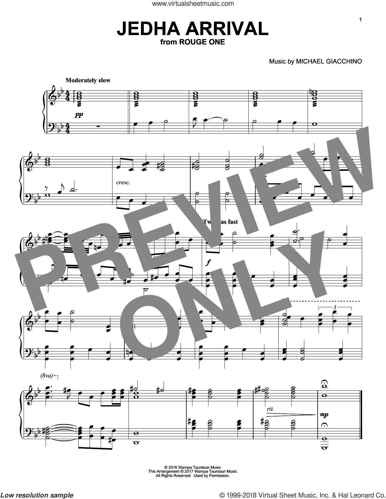 Jedha Arrival sheet music for piano solo by Michael Giacchino. Score Image Preview.