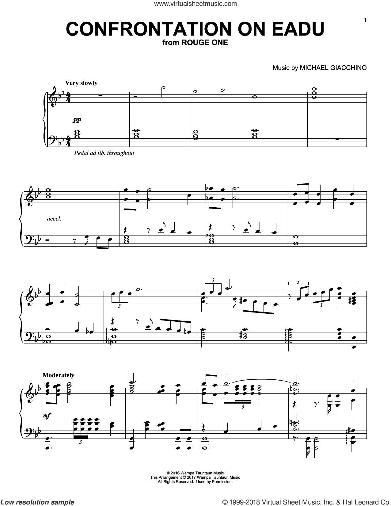 Confrontation On Eadu sheet music for piano solo by Michael Giacchino, classical score, intermediate skill level