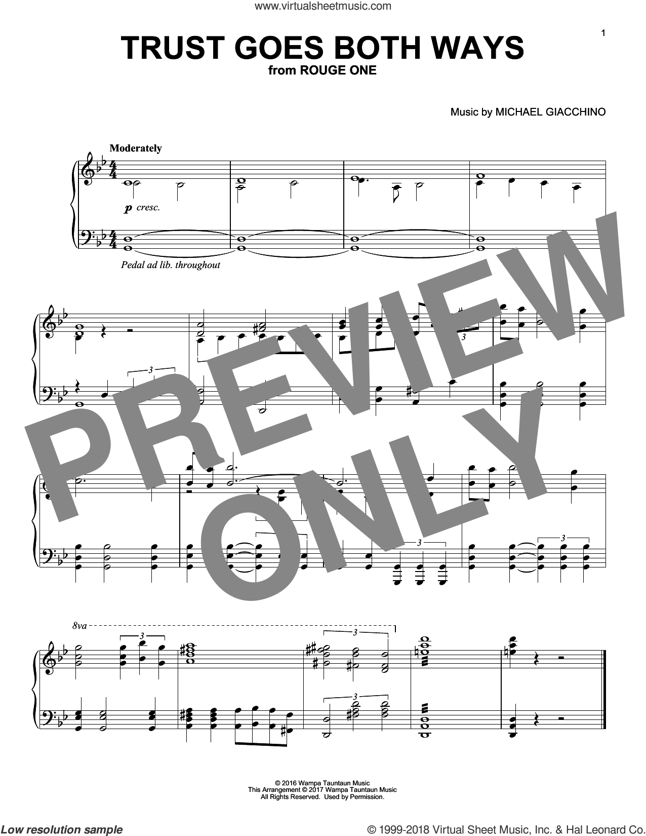 Trust Goes Both Ways sheet music for piano solo by Michael Giacchino, classical score, intermediate skill level