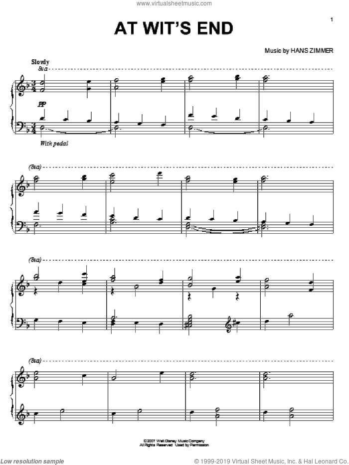 At Wit's End sheet music for piano solo by Hans Zimmer, intermediate skill level