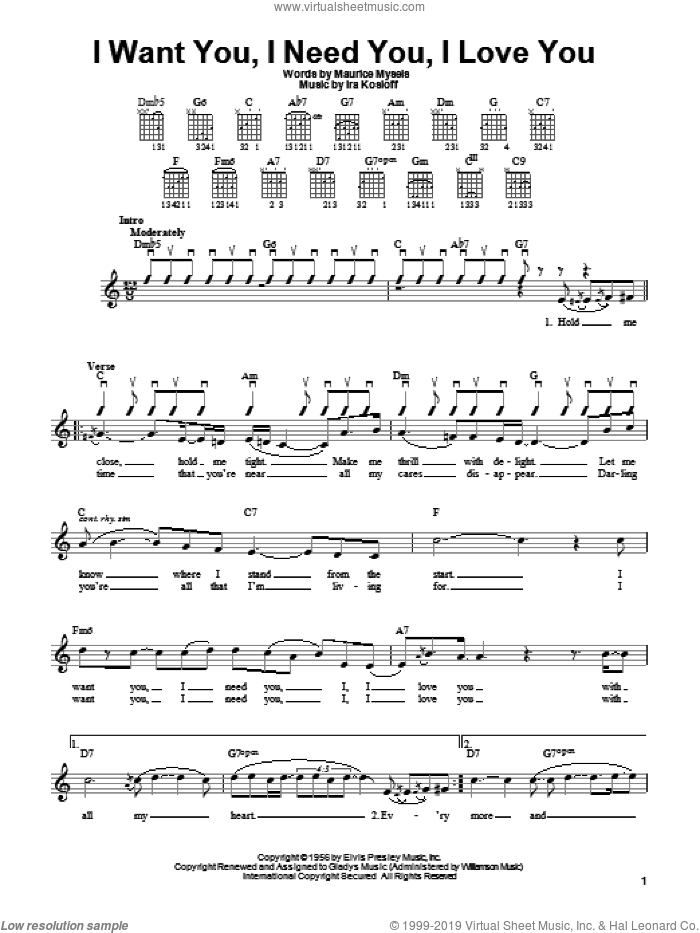 I Want You, I Need You, I Love You sheet music for guitar solo (chords) by Elvis Presley, Ira Kosloff and Maurice Mysels, easy guitar (chords)