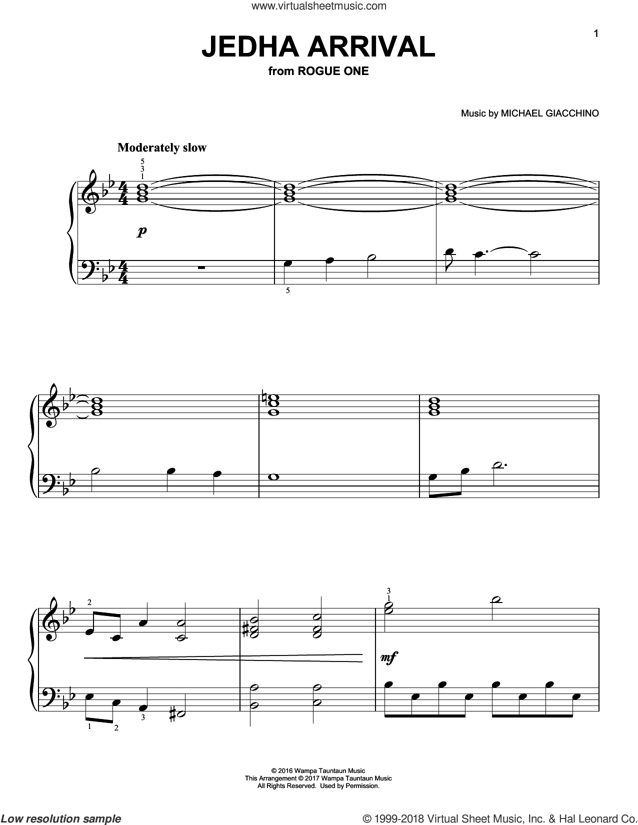 Jedha Arrival, (easy) sheet music for piano solo by Michael Giacchino, classical score, easy skill level